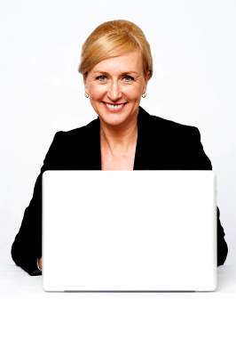 Boomer woman at laptop