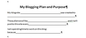 Quick Blog Planning Chart